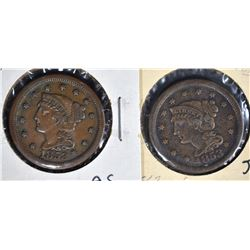 2-1853 LARGE CENTS: N-3 VF/XF & N-8 VF