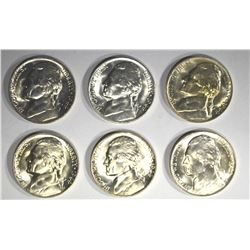 6-GEM BU 1944-P SILVER JEFFERSON NICKELS