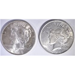1923 & 24 PEACE DOLLARS CH BU