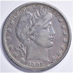 1902-O BARBER HALF DOLLAR, VF