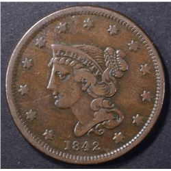 1842 LARGE CENT, VF