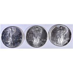 1990, 93 & 94 BU AMERICAN SILVER EAGLES