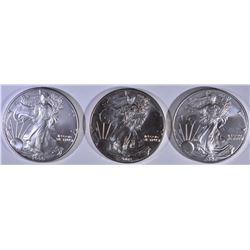2002 & 2-2006 BU AMERICAN SILVER EAGLES