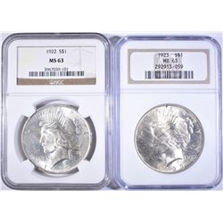 1922 & 23 PEACE DOLLARS NGC MS-63