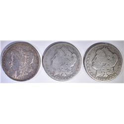 (3) MORGANS: 1883 S, 1889 XF AU, 1899-O VG