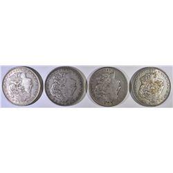 (4) XF AU MORGAN DOLLARS: 1921-D,