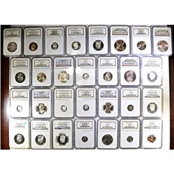 29-NGC SLABBED COINS, CENTS THRU DOLLARS