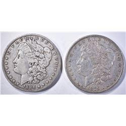 1886-O VF & 1879 AU BETTER DATE, MORGAN DOLLARS