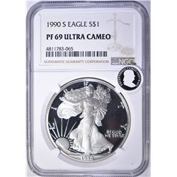 1990-S AMERICAN SILVER EAGLE, NGC PF69 ULTRA CAMEO