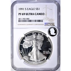 1991-S AMERICAN SILVER EAGLE, NGC PF69 ULTRA CAMEO