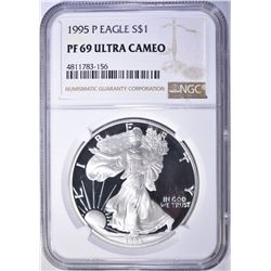 1995-P AMERICAN SILVER EAGLE, NGC PF69 ULTRA CAMEO