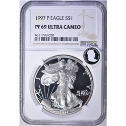 1997-P AMERICAN SILVER EAGLE, NGC PF69 ULTRA CAMEO