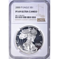 2000-P AMERICAN SILVER EAGLE, NGC PF69 ULTRA CAMEO