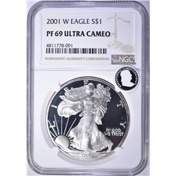 2001-W AMERICAN SILVER EAGLE, NGC PF69 ULTRA CAMEO