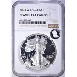 2004-W AMERICAN SILVER EAGLE, NGC PF69 ULTRA CAMEO