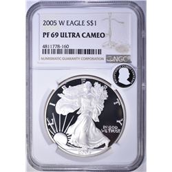 2005-W AMERICAN SILVER EAGLE, NGC PF69 ULTRA CAMEO
