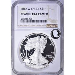 2012-W AMERICAN SILVER EAGLE, NGC PF69 ULTRA CAMEO