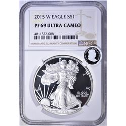 2015-W AMERICAN SILVER EAGLE, NGC P-69 ULTRA CAMEO