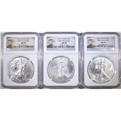 2012, 13 & 14 AMERICAN SILVER EAGLES, NGC MS-70