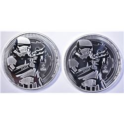 2-2018 TUVALU 1oz SILVER STORM TROOPER $2 COINS