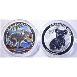 2-AUSTRALIAN ONE OUNCE SILVER KOALA COINS