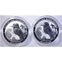 2-2019 AUSTRALIAN ONE Oz SILVER KOOKABURRA  COINS