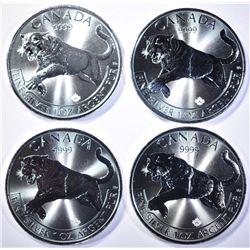 4-BU 2016 CANADIAN 1oz SILVER $5 COUGAR COINS
