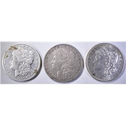 1881-O cleaned, 82 VF/XF & 91-O XF MORGAN DOLLARS