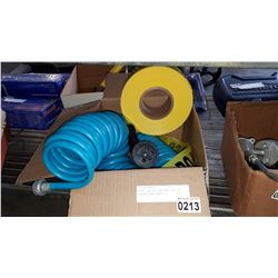 FLEXI GARDEN HOSE AND ROLL OF POLICE LINE TAPE