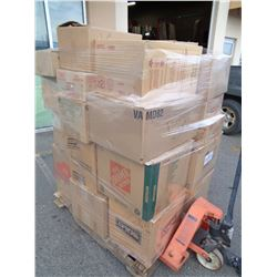PALLET OF PLASTIC AND PAPER CUPS, SPOONS, STIR STICKS ETC