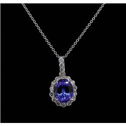 3.28 ctw Tanzanite and Diamond Pendant With Chain - 14KT White Gold