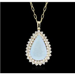 14KT Yellow Gold 13.37 ctw Opal and Diamond Pendant With Chain