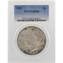 1922 $1 Peace Silver Dollar Coin PCGS MS65