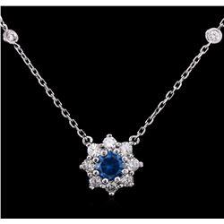 1.26 ctw Fancy Greenish Blue Diamond Necklace - 14KT White Gold