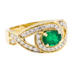1.35 ctw Emerald And Diamond Ring - 14KT Yellow Gold