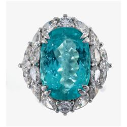 11.15 ctw Paraiba Tourmaline and Diamond Ring - 18KT White Gold