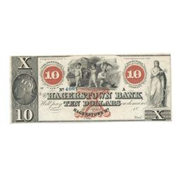 1800's $10 Hagerstown Bank, Hagerstown, MD Obsolete Bank Note