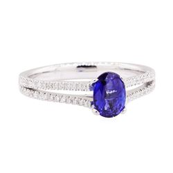 0.93 ctw Sapphire and Diamond Ring - 18KT White Gold