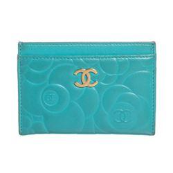 Chanel Turquoise Blue Lambskin Leather Camellia Flower Embossed Cardholder