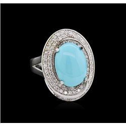 3.79 ctw Turquoise and Diamond Ring - 14KT White Gold