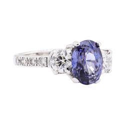 3.08 ctw Sapphire And Diamond Ring - Platinum