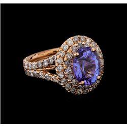 4.30 ctw Tanzanite and Diamond Ring - 14KT Rose Gold