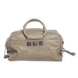 Marc Jacobs Gray Leather Jeweled Satchel Handbag