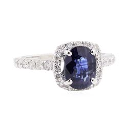2.26 ctw Sapphire And Diamond Ring - 14KT White Gold