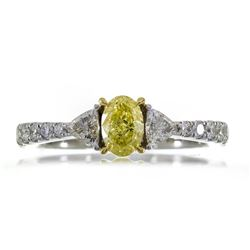 1.00 ctw Fancy Yellow Diamond Ring - 18KT Two-Tone Gold