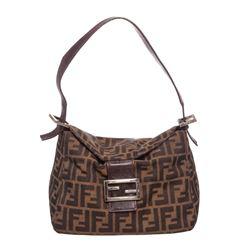 Fendi Brown Nylon Leather Zucca Baguette Shoulder Bag