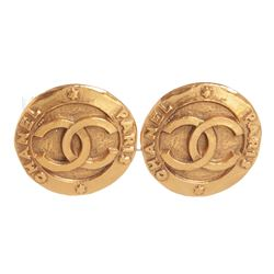 Chanel Gold CC Round Disk Hammered Large Clip On Earrings