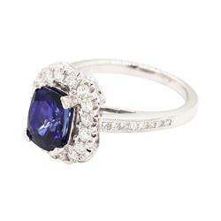 3.26 ctw Sapphire and Diamond Ring - 18KT White Gold