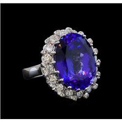 GIA Cert 16.07 ctw Tanzanite and Diamond Ring - 14KT White Gold