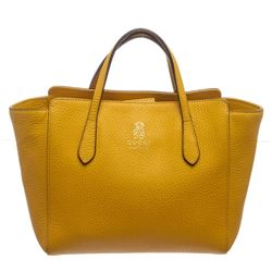 Gucci Yellow Textured Leather Swing Tote Bag